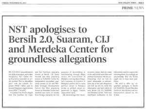 NST Publishes Apology on 15 November 2013